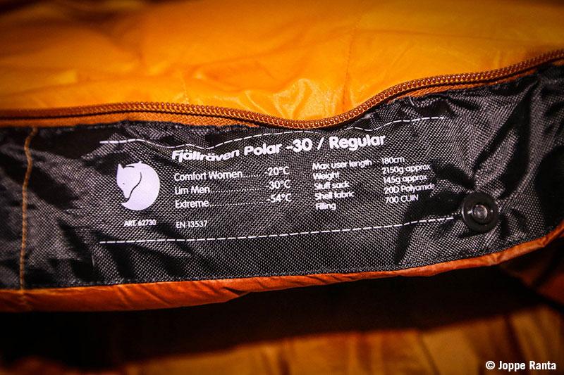 Fjällrävenin makuupussin lämpöarvoja ja mittoja