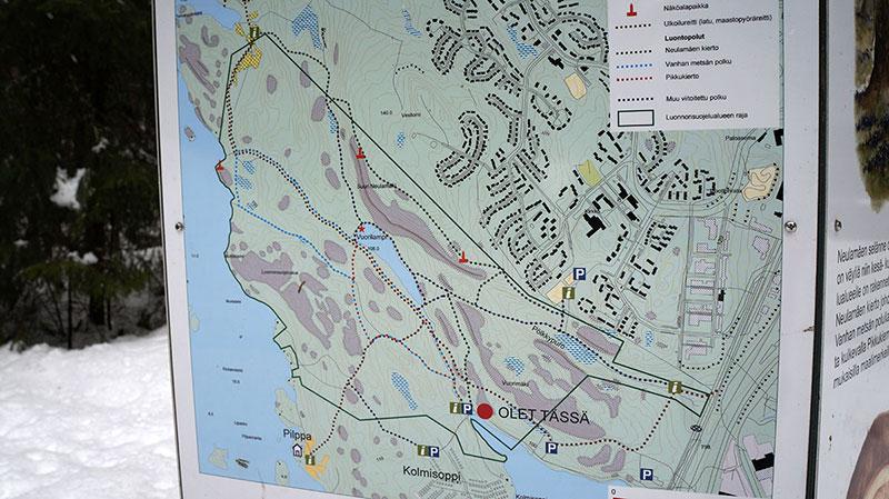 Neulaniemen virkistysalueen kartta