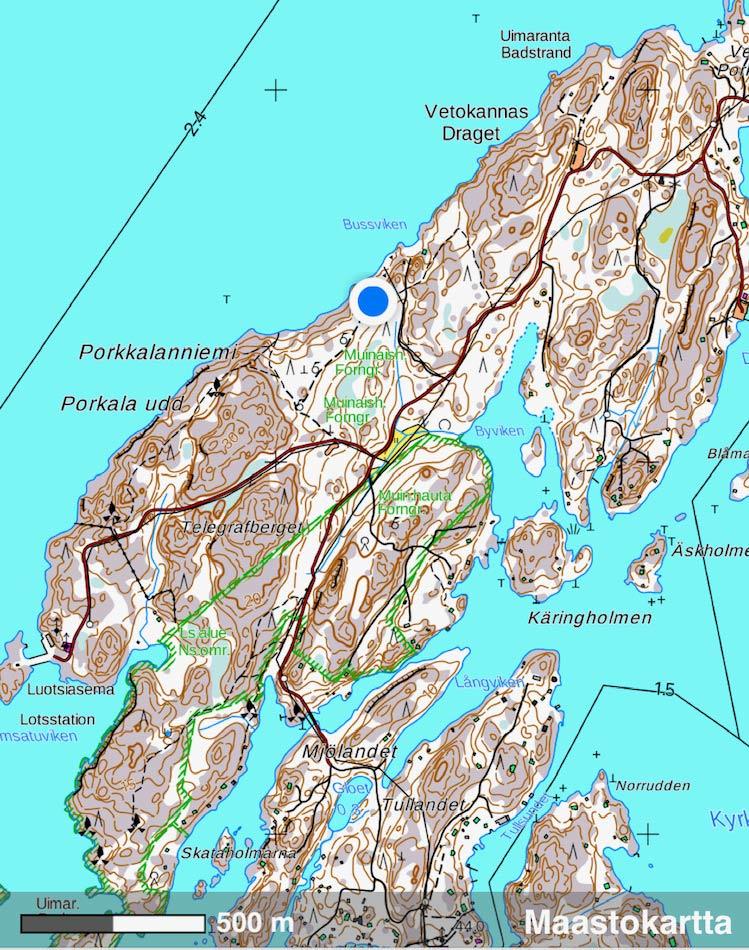 Porkkalanniemen Koskelon keittokatos kartalla