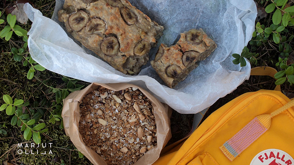 Banaanileipä, granolaa ja Kånken