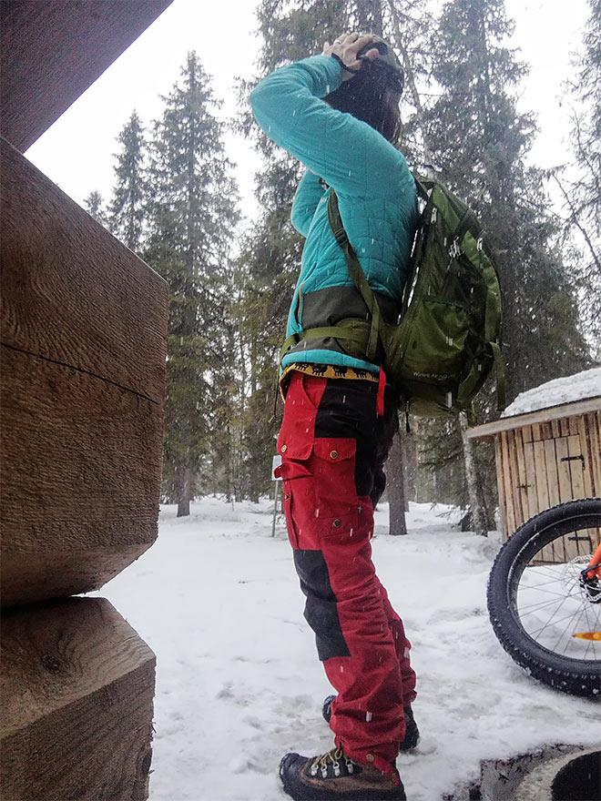 vaatteet maastopyöräretkelle talvella